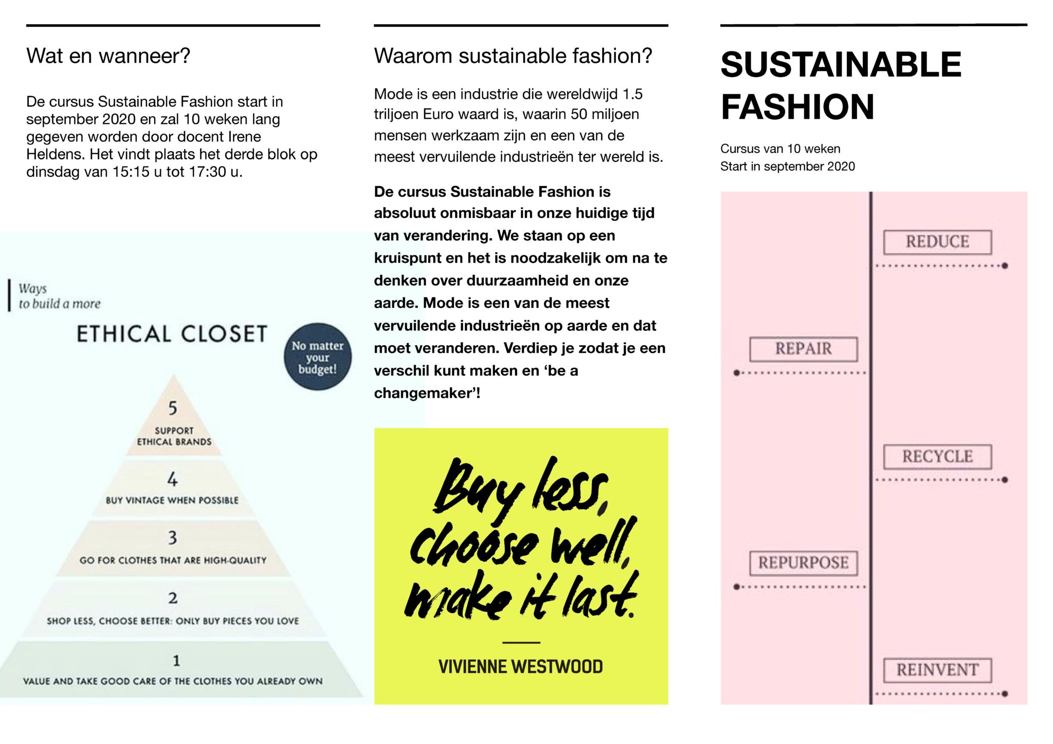 Sustainable Fashion & Fotostudio cursussen